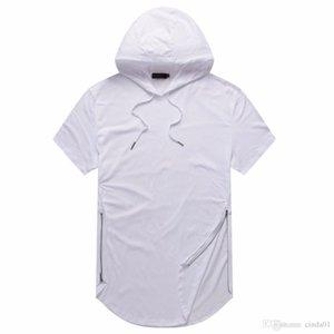 2019 남자 저스틴 비버 여름 티셔츠 Longline 곡선 헴 t 셔츠 후드 지퍼 디자인 짧은 소매 캐주얼 탑 남성