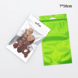 7 * 10cm 100pcs Green Sacs à glissière de geocéryfer à fermeture à glissière à glissière à glissière claire sur les sacs de sacs d'emballage auto-scellés avant sur les pochettes de bonbons et de noix