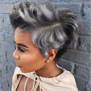 2020 new hot wig European and American fashion ladies mixed color short curly hair manufacturers direct sales