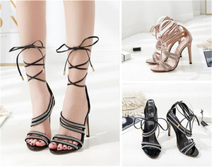 Brand Designer Women's sandals European and American water drill lace-up sexy fashion catwalk high heels 35-40