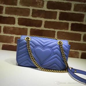 Calidad superior de lujo diseño de la celebridad del corazón Cluth Marmont bolsa de hombro de las mujeres de cuero genuino Crossbody Messenger Bag cinturón de cadena 446744