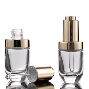 Vente de l'usine 30ml cosmétique Huile Essentielle Parfum 30 ml Flacon compte-gouttes avec bouchon compte-gouttes de couvercle de la pompe de presse d'or