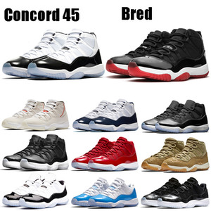 Nueva Bred Zapatos Jampman 11s metálico blanco de plata del baloncesto de Concord 45 bajo la serpiente de luz espacial Bone Jam Gimnasio Rojo Hombres Mujeres zapatillas de deporte de diseño