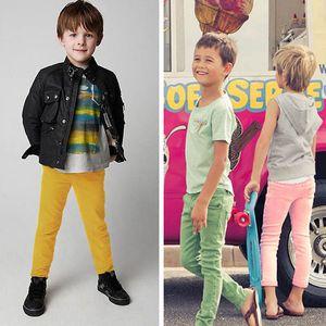 Дети Wild Stretch Pants Сплошной цвет середины талии девушки Эластичные брюки Tight Мальчик младенец Bottoms брюки 48