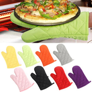 Hot Sale High-temperature Thick Hot Insulation Microwave Oven Gloves Kitchen Supplies Cotton Professional Solid Oven Mitts 8 Colors DHL