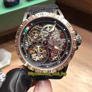 14 Cor Excalibur 42 RDDBEX0622 Esqueleto Tourbillon Dial Japão Miyota Automático Mens Watch Rose Caso Banda de Couro Esporte Relógios 03