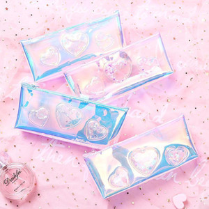 Sequin Laser Pencil Bag Clear Girl Waterproof PU High Capacity Pen Bags Case 3D Pattern Student Storage Bag School Supplies Free Shipping