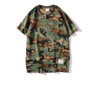 Camiseta de los hombres del verano de las camisetas para los hombres patrón de ropa de camuflaje letra de la manera de la calle de manga corta de moda de estilo de desgaste transpirable Tees S-2XL