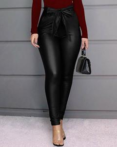 Pantalones de cuero de las señoras de talle alto polainas PU de las nuevas mujeres de moda elástico flaco lápiz Pantalones Negro Rojo