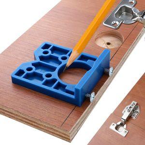 3pcs / 35mm Lote Bisagra plantilla ABS Bisagra de madera Instalación de perforación del taladro Bisagra Agujero Boring Tool, los muebles de la puerta para carpintería +