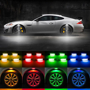 4PCS / lot سيارة عجلة الحاجب Lght جو LED السيارات عجلة الحاجب أضواء النيون صور فلاش مصباح 7 ألوان