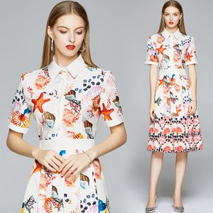 2020 Summer Runway Stunning Fashion Print Women Pleated Shirt Dress Elegant Ladies White Casual Office Short Sleeve Button Lapel Dresses