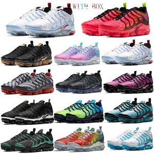 Top EE.UU. Tn más los zapatos persa Violeta Armada de medianoche diseñador del amortiguador de los zapatos corrientes de las zapatillas de deporte frescas olímpicas Equipo Gris geométrica deporte con la caja