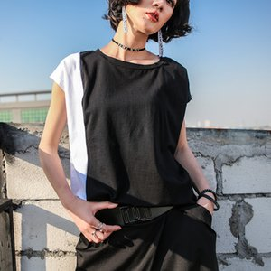 Xitao Hit O Pescoço Tamanho T Shirt Color Plus Mulheres manga curta Pullover Patchwork Vintage roupa ocasional coreanas 2020 Verão LJT1838