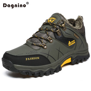 Botlar Dagnino Kış Sıcak Kürk Kar Erkekler Sonbahar Kaymaz Kauçuk Taban Ayak Bileği Su Geçirmez Ayakkabı Ayakkabı Artı Boyutu 39-47
