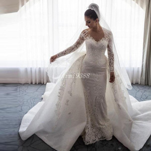 2019 Luxury Mermaid Wedding Dresses Chapel Train Lace Applique Sheer Neck Big Bow Overskirts Bridal Gowns Formal Wedding Dress With Sleeves