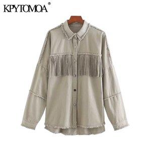 KPYTOMOA Women 2020 Fashion Oversized Frayed With Fringe Denim Jacket Coat Vintage Long Sleeve Tassel Female Outerwear Chic Tops