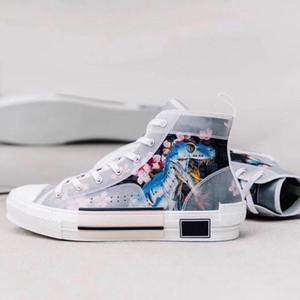Nuovo progettista scarpe B23 tecnico tela Fiori lettera animale stampa alte e Low Cut lusso Trainer Oblique Scarpe casual 36-45 con box