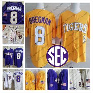 NCAA LSU Tigers # 8 Alex Bregman Jersey de la universidad de béisbol 2019 púrpura oro blanco amarillo cosido de la vendimia Kid Hombres Mujeres Jóvenes uniforme 4XL