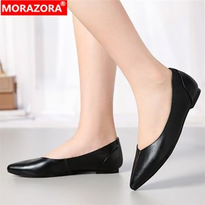 MORAZORA 2020 New comfortable women flats genuine leather fashion pointed toe ladies shoes shallow flats summer