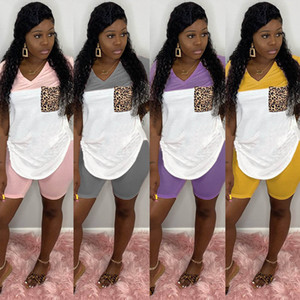 roupas mulheres verão Leopard Print 2 duas peças treino retalhos t-shirt calções motociclista leggings outfits conjunto plus size womens vestuário