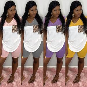 Imprimir Tracksuits Outfits Leopard Leggings 2 T-shirt Set Patchwork Dois Verão Biker Shorts Pedaço Clothes Womens Plus Size Mulheres Roupa Qdvb