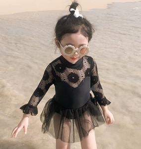 bambine manica lunga swimsuit 2020 Cute Princess pizzo bikini ragazza del bambino bambini costumi da bagno costumi da bagno nuotare vestito spiaggia