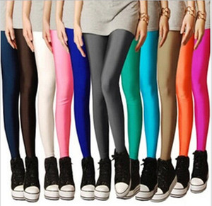 2019 women autumn summer leggings Stretch color ice cream glossy pants was thin candy color fluorescent pants nine points leggings