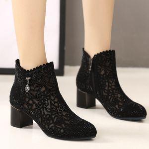 GKTINOO моды Стразы марли сандалии лето Новая сетка сапоги из натуральной кожи Женская обувь Сапоги Hollow Толстые каблуки