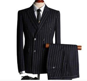 Populaire Mens Costume Noir Blanc Stripe 2pcs Costumes Marié Mariage Affaires Costumes À Double boutonnage De Mariage Smokings Sur Mesure