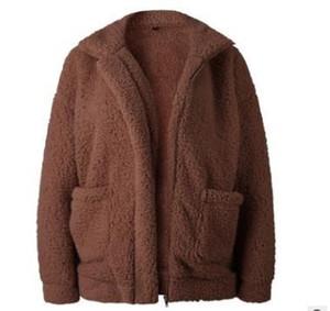 Brasão Moda, Mulheres, Mulheres Fluffy Jacket Autumn Zipper Plush Grosso Casual Plus Size Brasão Cordeiro inverno da pele do falso Feminino Overcoat