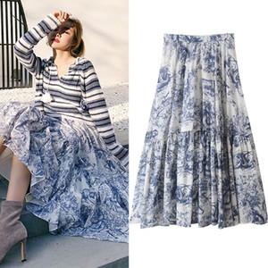 Новый дизайн женщин осень эластичный пояс китайская живопись чернила стиле ретро печати большого расширения длинная юбка S M L