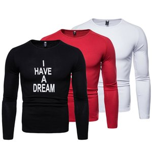 2019 hombres del resorte ocasional gimnasia de los deportes camisetas musculares O Cuello de manga larga camisetas T Shirts Tops letra de la manera Imprimir Breve camiseta Top