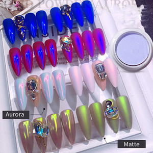 Новая мода Fairy Aurora Порошки Dust Wipe на ногтях Маникюр украшения Nail Art Shell Powder Пигмент хром Зеркало блестит Nail Glitter