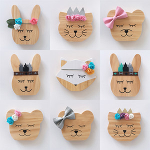 INS Nordic Wooden Animal Ornaments Photography Props Kids Room Decorations Wall Art Miniature Figurines Wood Nursery Decor Item Z1095
