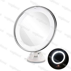 Luzes da noite compõem luz espelho 7x lupa redonda conduzido led top banheiro vaidade 360 graus rotating maquiagem cosmética espelho compacto