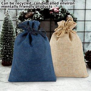 24 piezas de grano de madera con cordón bolsa de almacenamiento de lino regalo organizador de joyería de caramelo maquillaje cosmético monedas llaves bolsas manojo bolsa de arpillera