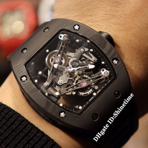 أفضل نسخة RM 038 بوبا واتسون الهاتفي الهيكل العظمي اليابان ميوتا التلقائي RM038 رجل ساعة أسود من ألياف الكربون حالة الشريط المطاط ساعات رياضية
