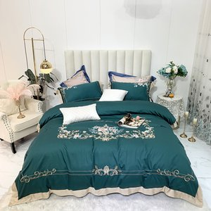 Luxury Green 100S Satin Egyptian Cotton Bedding Set Blooming Flowers Embroidery Duvet Cover Bed Linen Fitted Sheet Pillowcases