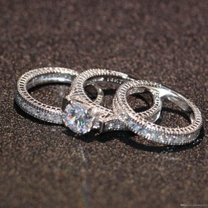 2018/19 Uphot 2019 Venda quente Topázio Simulado Diamante Diamante Diamonique 14KT Ouro Branco Cheio 3 Casamento mulheres Conjuntos de Anel tamanho do presente 5-11