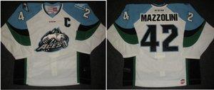 las mujeres de Hombres jóvenes ECHL de la vendimia 2013 de Alaska Aces 14 42 Nick Mazzolini CCM Hockey Jersey talla S-5XL o costumbre cualquier nombre o número