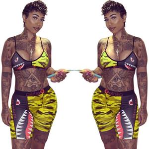 Swimsuit Laço da marca Ethika Swimwear Mulheres até Bra + Shorts Metade Comprimento Pants 2 Piece Treino Patchwork tubarão Camo Striped Bikini Set A21804