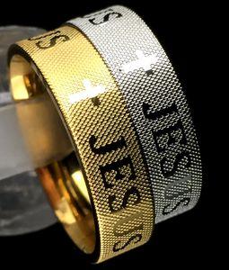 atacado 30pcs oração de Jesus atravessar anéis de aço inoxidável 316L Bíblia cristã religiosa jóias jesus anel de dedo