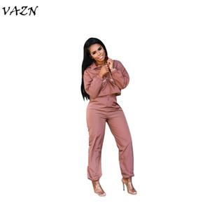 VAZN 2018 nouvelles femmes arrivent hip-hop de fermeture à glissière complète Combi-pantalons solides manches o-cou 2-pièces dames combinaisons ONY5054 régulières