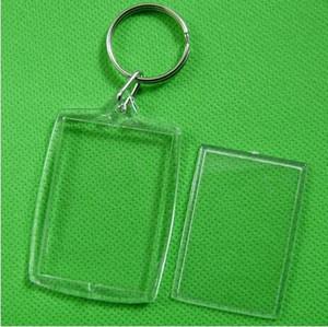 Atacado ! DIY em branco Acrílico photo chaveiros em forma Chains Limpar tecla Insert Photo Plastic 1000pcs Chaveiros DHL Fedex grátis