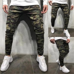 Mens Camouflage Pencil Designer Jeans Men High Street Fashion Big Pockets Striped Zipper Design Slim Jean Pants