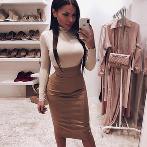 Suede High Waist Slit Skirt Bodycon Sexy Herbst-Winter-Frauen arbeiten langer Rock-Party-Kleidung reine Verein Outfits