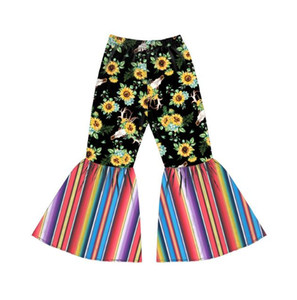6styles Girl Flared Pants Kids Sunflower Printed Bell-bottom Trousers Baby Elastic Belt Trousers Toddler Floral Casual Pants GGA3415-3