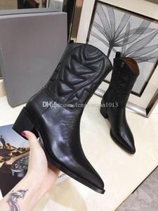 Lüks bayanlar yarım bot 2019 erken sonbahar tasarımcı bayan ayakkabı hakiki deri bayan bot 3D elektrikli nakış kadın botları sivri