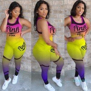 Yaz Lüks Kadınlar Gradient Renk Eşofman Tasarımcı Mektupları İki adet Kıyafetler Marka Spor Streetwear D42707 Tank Top Vest + Pantolon yazdır